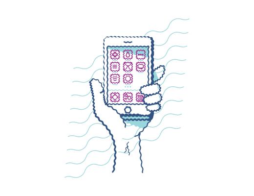 Exemplo de uma pessoa olhando para um telefone com astigmatismo