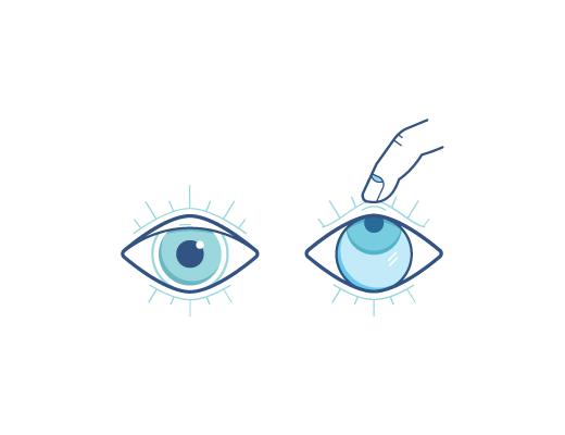 Olhos para cima e dedos pinçando a lente de contato
