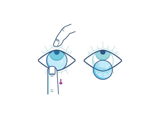 Remova as lentes de contato usando o dedo indicador