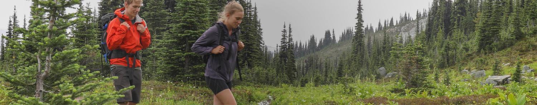 casal fazendo trilha pela floresta: protegendo ambientes, protegendo nosso mundo natural