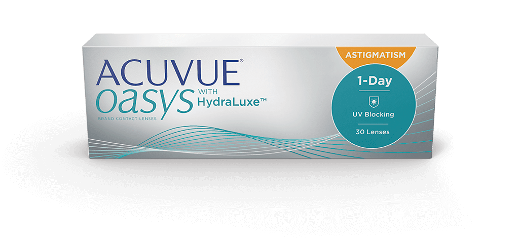 ACUVUE OASYS® 1-DAY com TECNOLOGIA HydraLuxe™ para ASTIGMATISMO