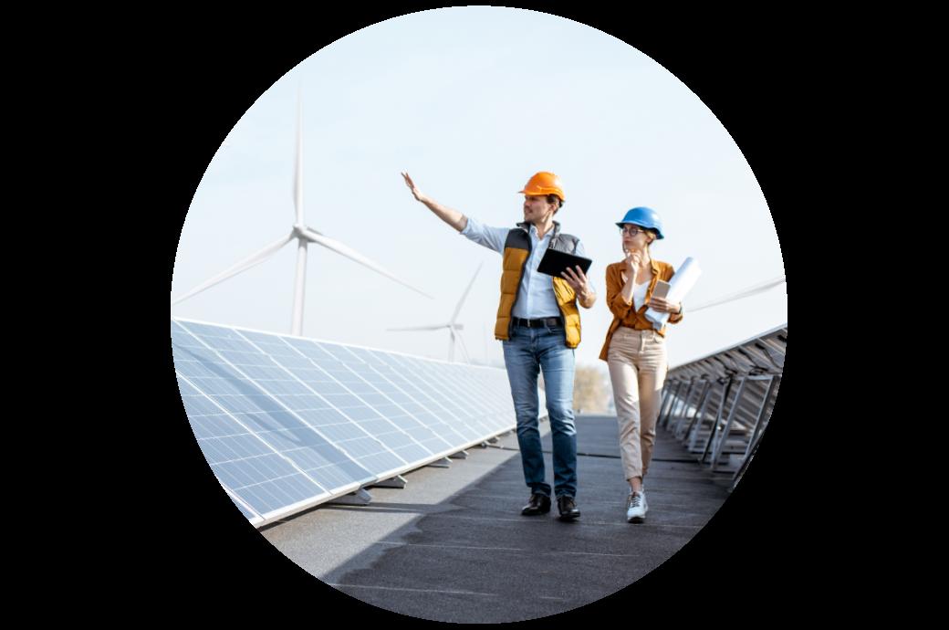 energia verde, energia limpa, moinhos de vento e painel solar para reduzir as emissões de carbono